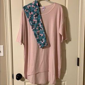 LuLaRoe pink Irma and legging set